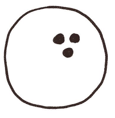 ボーリングの球のイラスト(スポーツ器具) モノクロ線画
