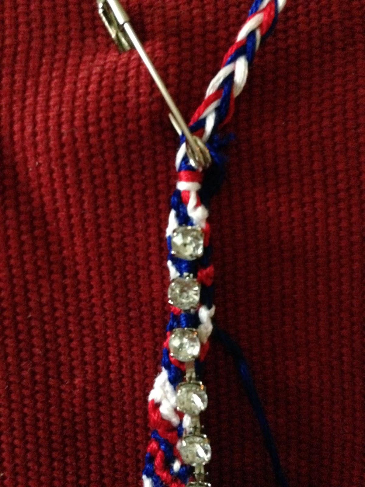 Add rhinestone chain to friendship bracelet