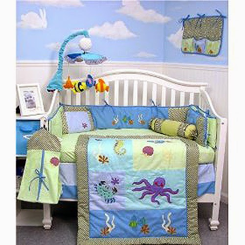 blue and white baby boy room decoration