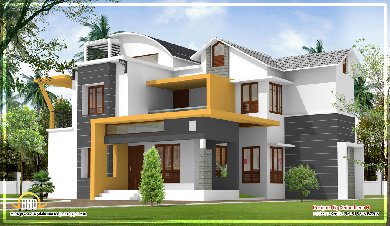 Modern contemporary Kerala home design - 2270 Sq.Ft. - April 2012