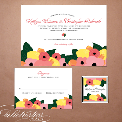 printable diy floral citrus hand drawn wedding invitation stationery
