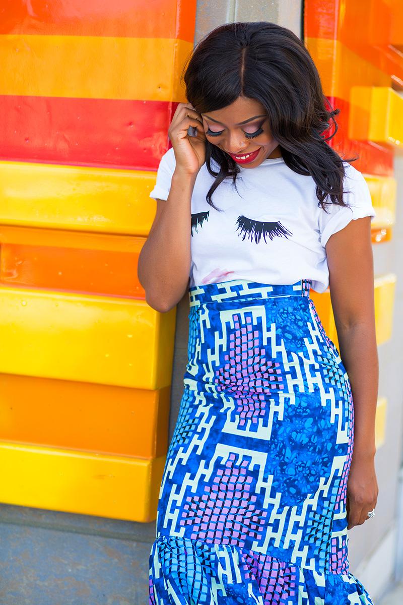 Ankara print skirt and sincerely jules tee