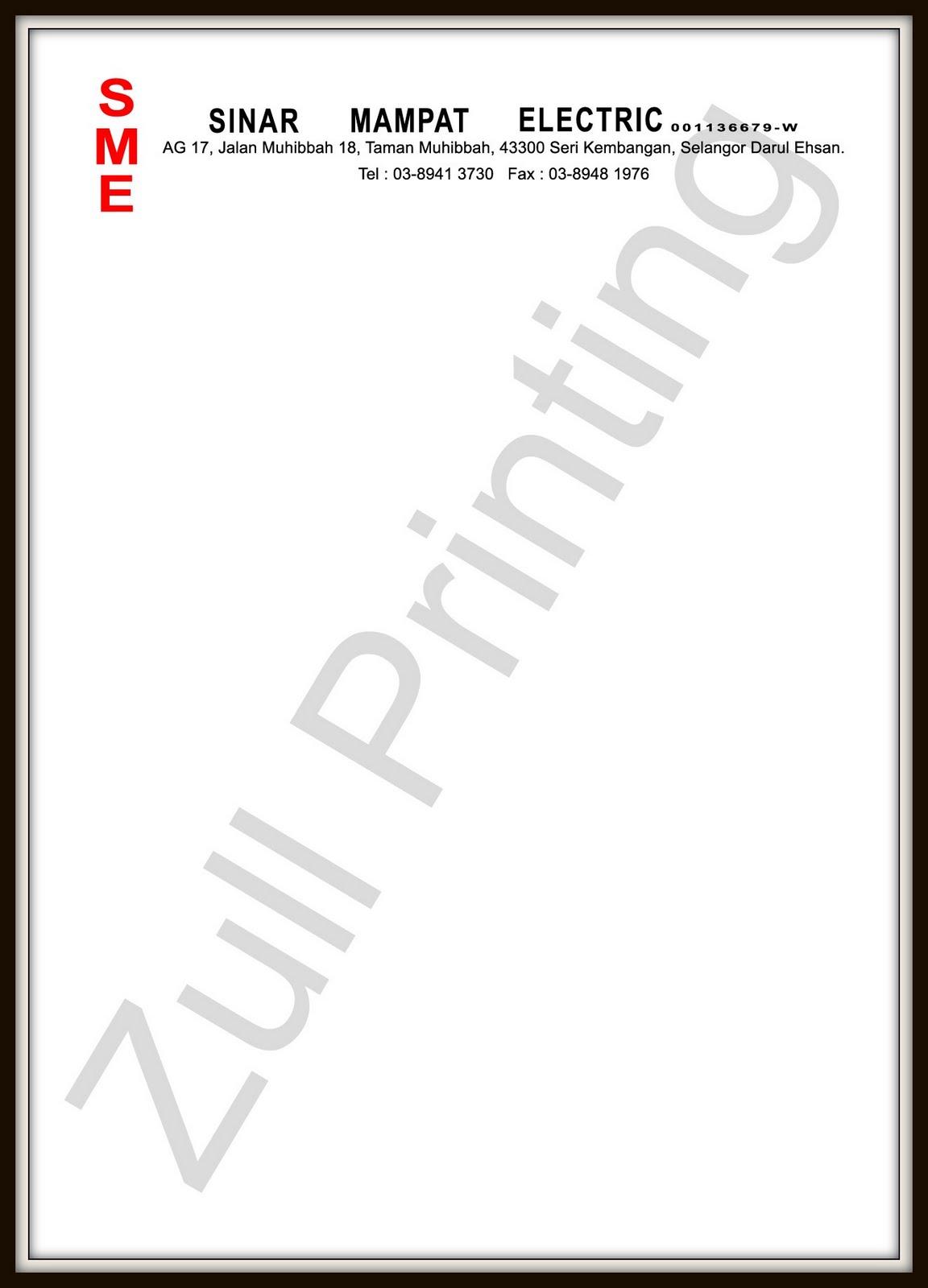 Zull Printing Letterhead Dari Syarikat Swasta