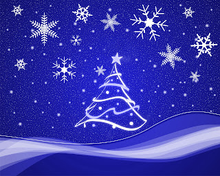 Beautiful Christmas snowflakes designs background wallpaper with Christmas tree decoration