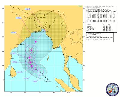 Trayectoria Ciclón Tropical 01B, 11 de Mayo 2013