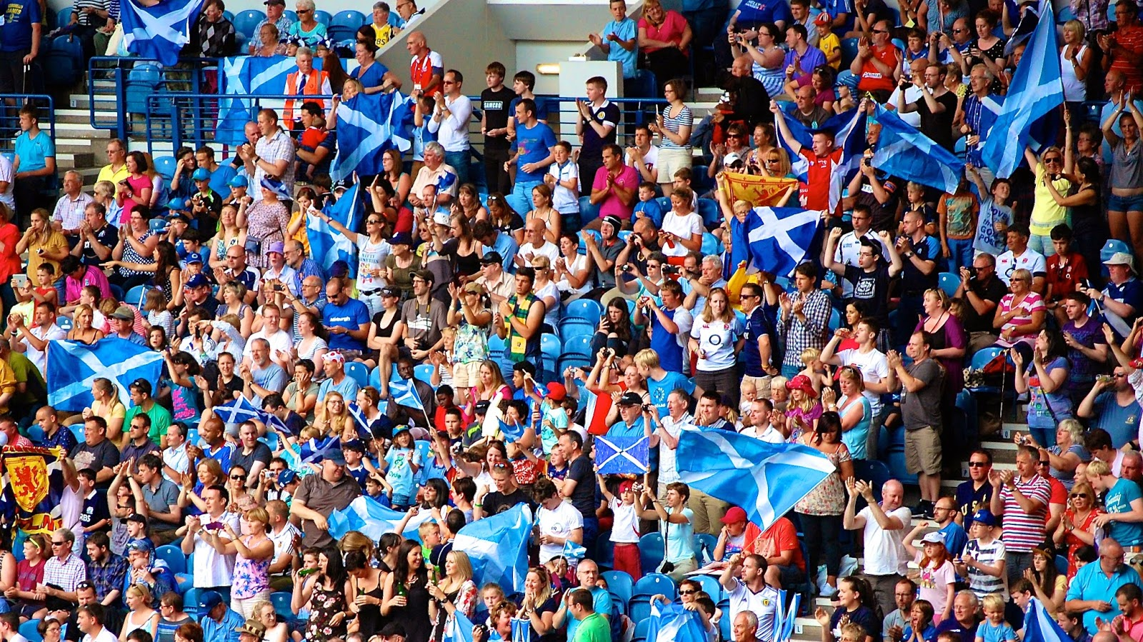 Scottish flags; the Saltire