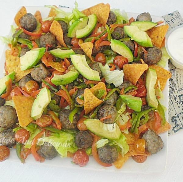 Meatball Nacho Salad