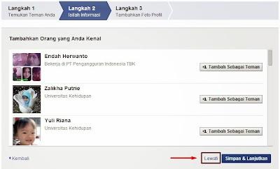 Proses mencari teman FB