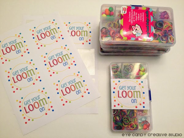 party favor labels, get your loom on, rainbow loom mini kits, birthday party