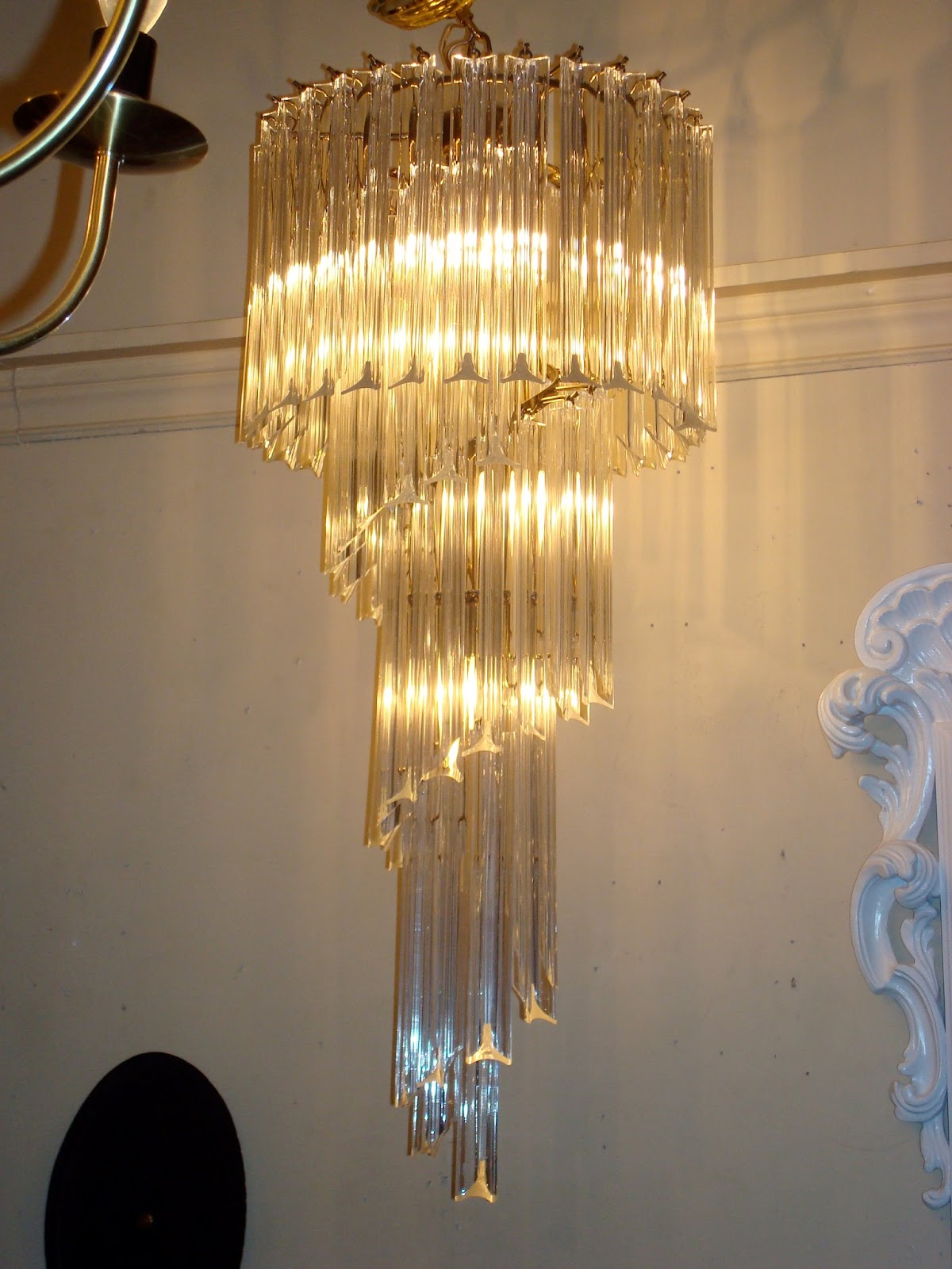chandelier nyshowplace century mid long md lucite looped