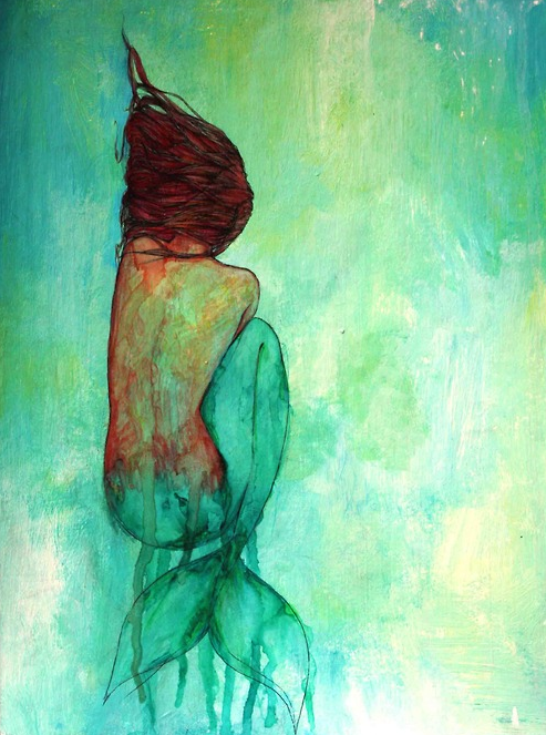 Life love and california mermaid painting for Cool watercolour