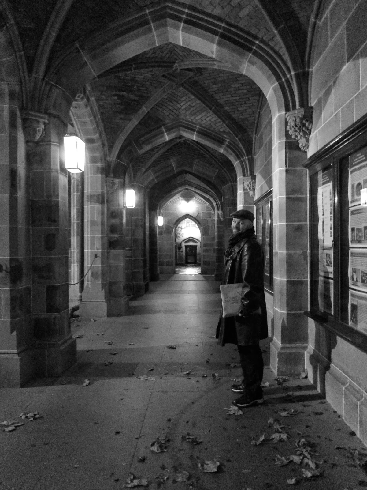 Melbourne university arch black and white