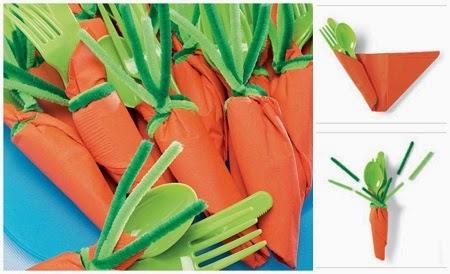 Servilletas en Forma de Zanahoria, Ideas para Pascua