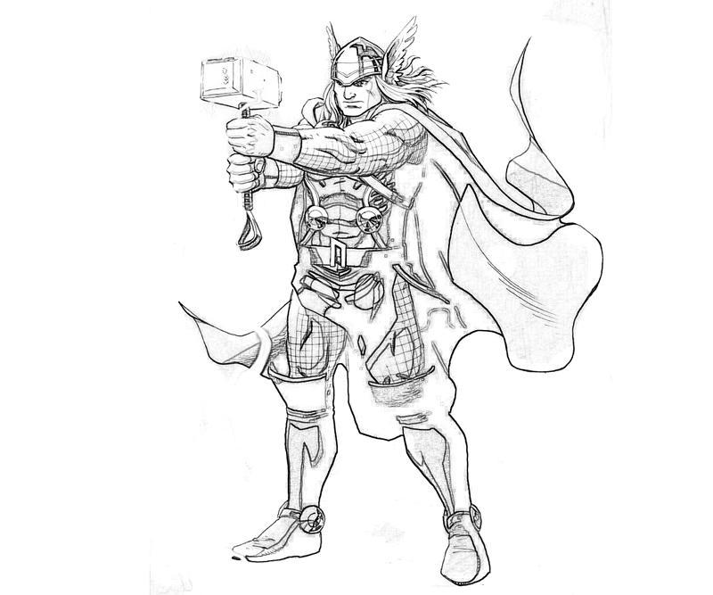 Marvel Vs Capcom Thor Yumiko Fujiwara Coloring Pages Thor