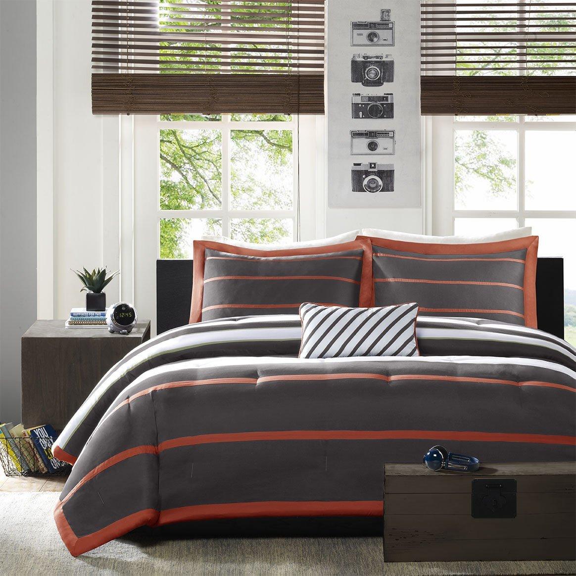 total fab midcentury modern bedding sets - medcentury modern bedding set orange and grey block pattern