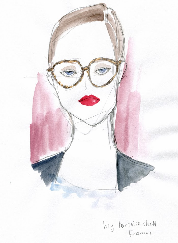 Kitty N. Wong / illustrated fashion face portrait in watercolour