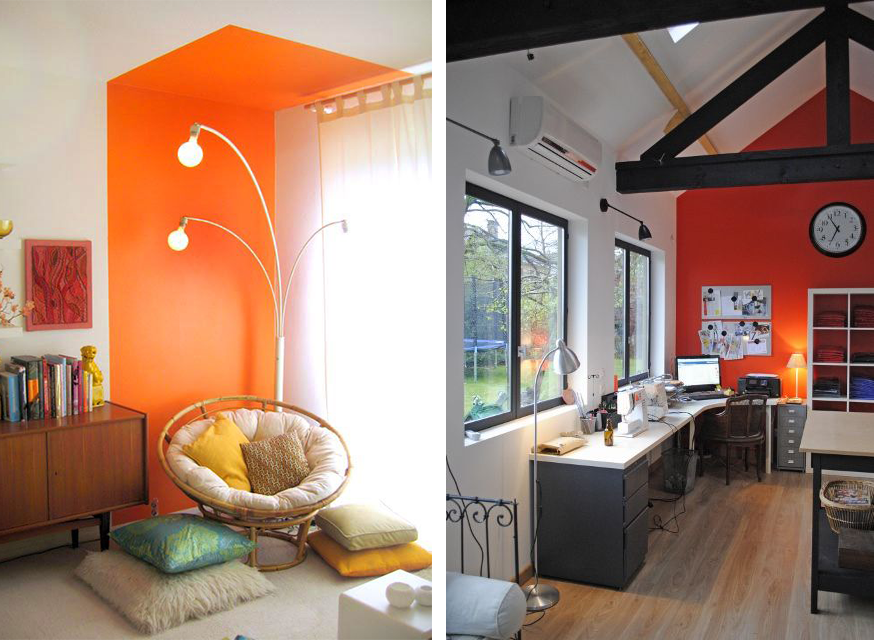 D co maison mur orange for Decoration maison orange