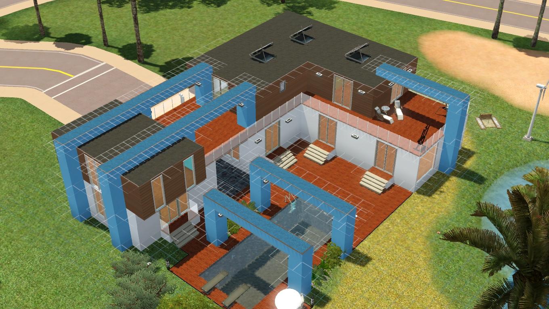 Maison de sims white sun maison moderne sims 3 for Plan maison avec jardin interieur