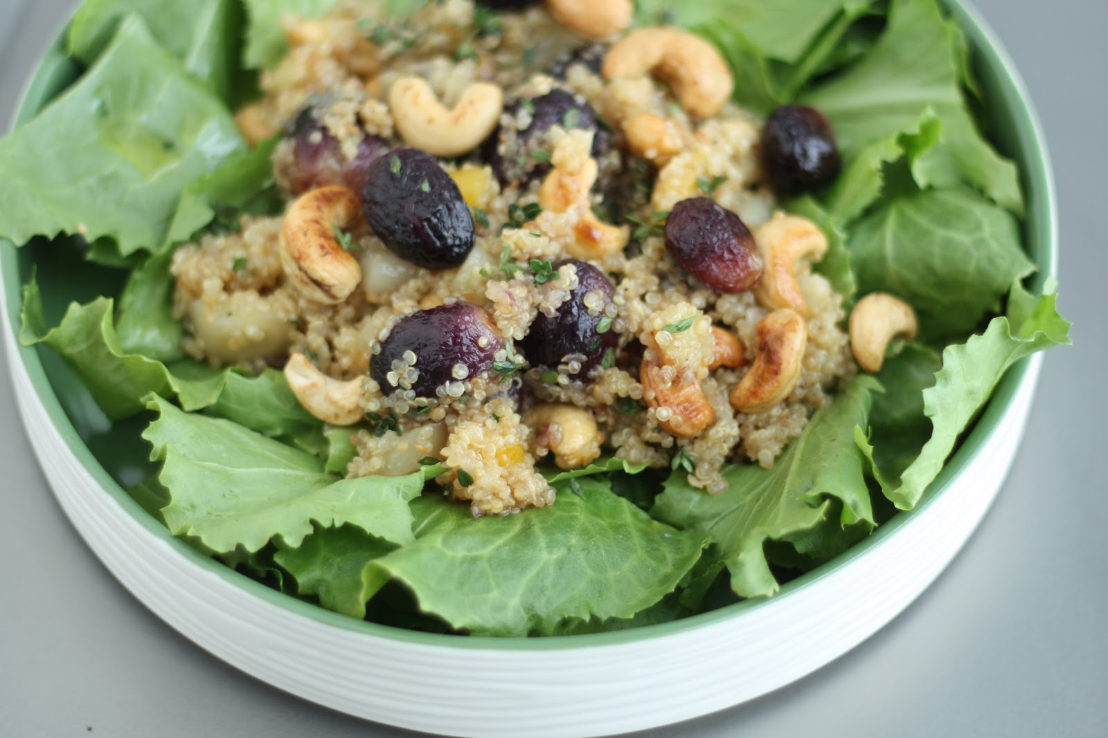 ... : Roasted Grapes with Cashews, Quinoa and Thyme over Escarole Greens