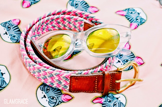 bold summer accessories - mirrored sunglasses - woven Jcrew belt