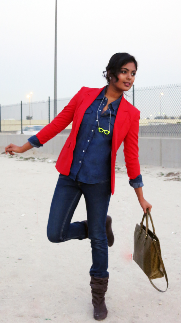 denim on denim featuring red blazer beauty blog