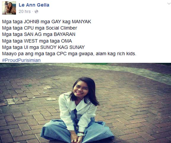 Le Ann Gellas Poser used Foul Words against Iloilo Students