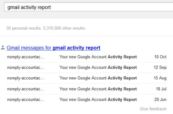 Show Gmail Google Drive Results