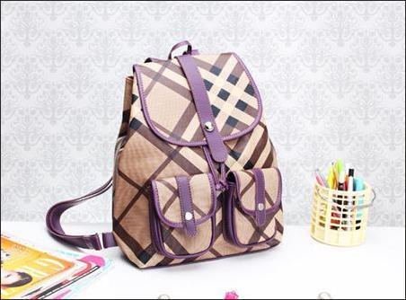 jual tas ransel korea wanita murah ungu coklat