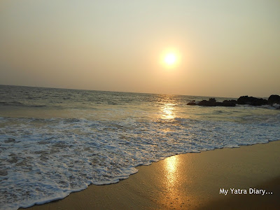 Sun set at the beach in Kannur homestay, Kerala