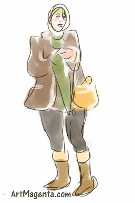 Skipping a train is a gesture drawing finger painted on an iphone by artist and illustrator Artmagenta