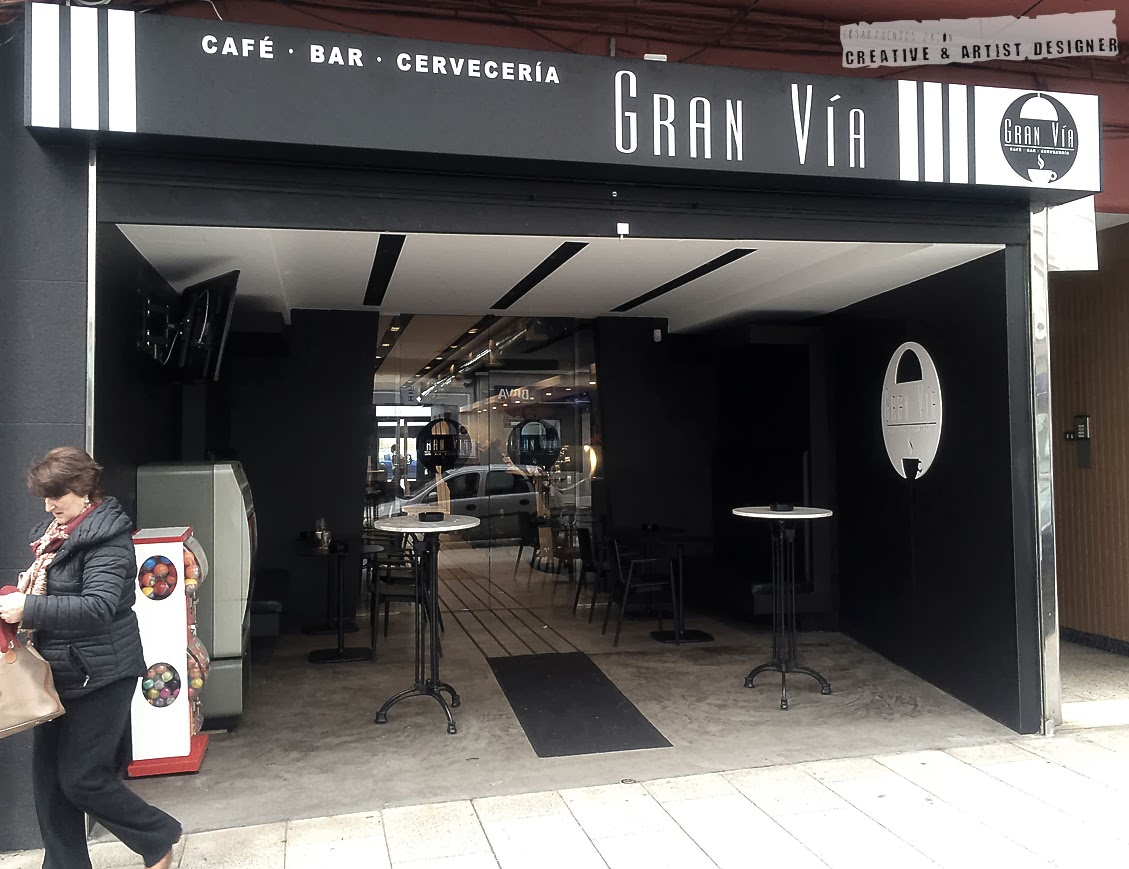 Proyecto de Interiosrismo Cafetería Gran Vía. (Fachada).