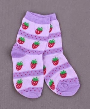 children's socks embroidered strawberry motif