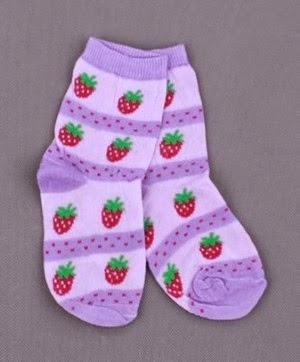 children's socks embroidered strawberry motif