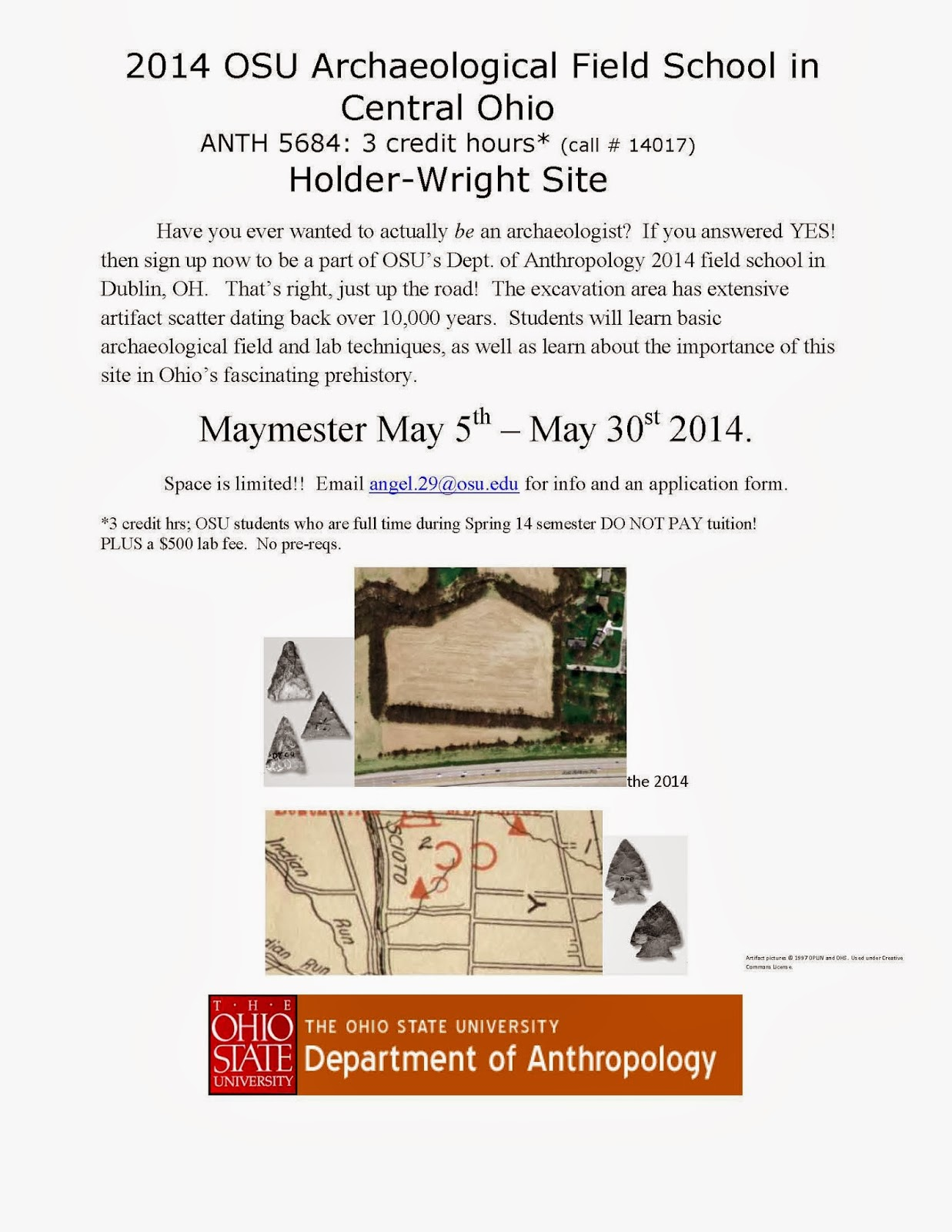 2014 OSU Archaeological Field School in Dublin, OH Flyer