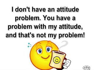 I do not have an attitude problem. You have a problem with my attitude and that is not my problem.