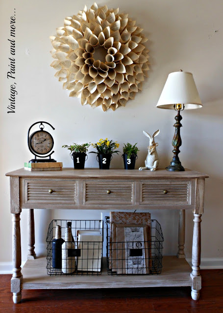 Spring decor done with vintage and recyled dollar store items