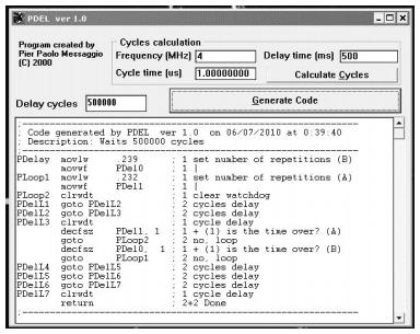 código ensamblador programa pic delayer