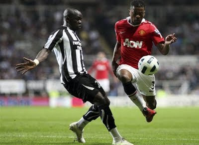 Patrice Evra Manchester United vs Newcastle United Barclays Premier League
