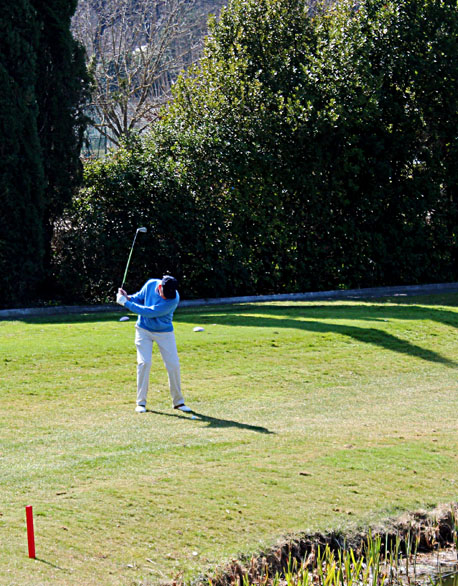 a golfer preparing to hit a ball