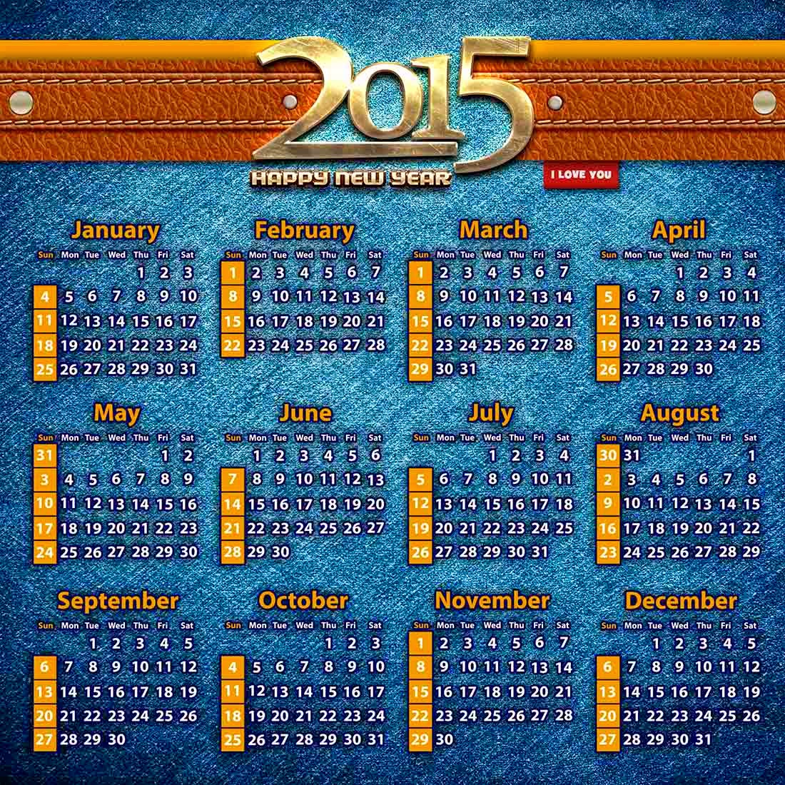 Textura de mezclilla con banda de cuero para un bonito calendario 2015