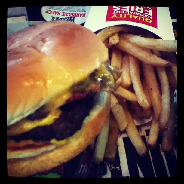 wendys, burger, fries, bacon, portabella