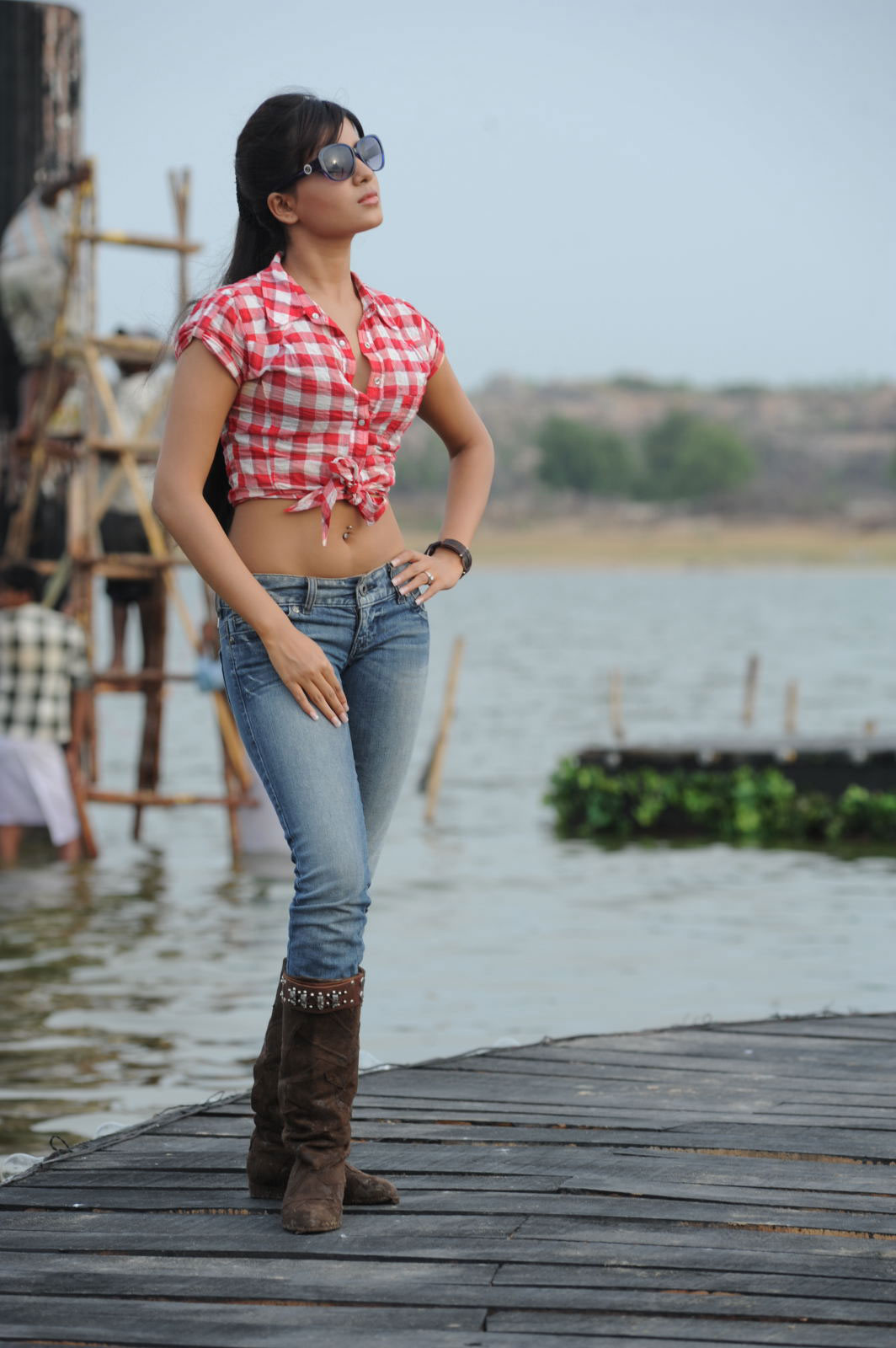 Samantha in jeans wearing a red and white cropped shirt. - SAMANTHA - jeans and half shirt= HOT GIRL