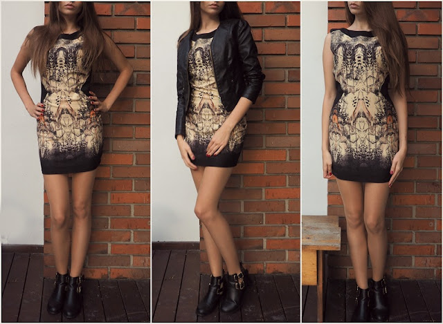 Stylizacja z sukienką, jesień, talia.