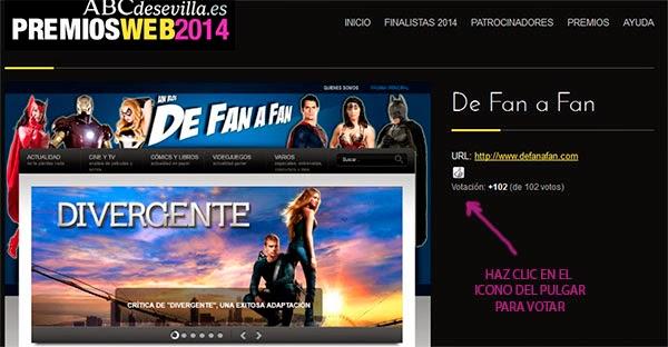 instrucciones para votar a DE FAN A FAN premios Webs ABC de Sevilla