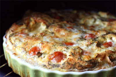 Quiche met geitenkaas en cherrytomaten