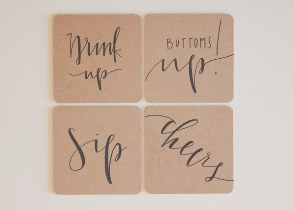 calligraphy on coasters