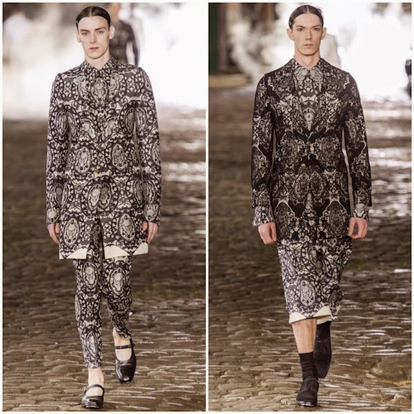 Alexander McQueen Spring Summer 2014 black and ivory skull lace print suit