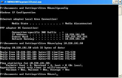 IPconfig and Ping IP Address NIC