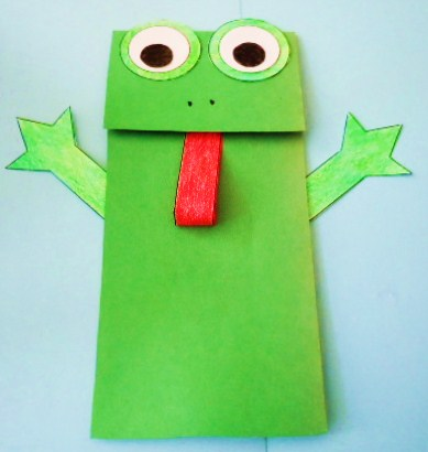 Learning ideas grades k 8 frog paper bag puppet crafts for Frog crafts for preschoolers