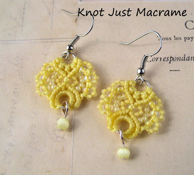 Beaded micromacrame earrings from Knot Just Macrame